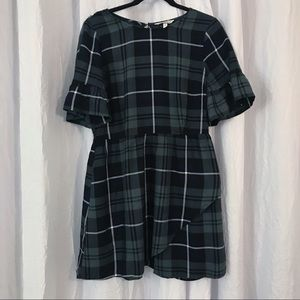 Blue & Green Plaid Dress Ruffle Sleeve